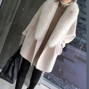Grey flannel coat with faux fur collar